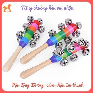 Lục lạc gỗ cầm tay có chuông nhỏ - đồ chơi âm nhạc cho bé màu sắc cầu vồng xinh xắn thumbnail