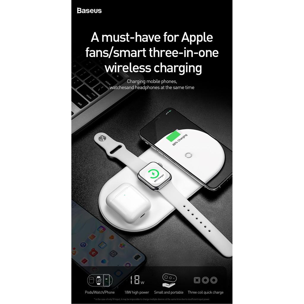 [ CHÍNH HÃNG ] Bộ sạc nhanh không dây Cho Phone, Apple Watch, Airpods - Baseus Smart 3in1 Wireless Charger