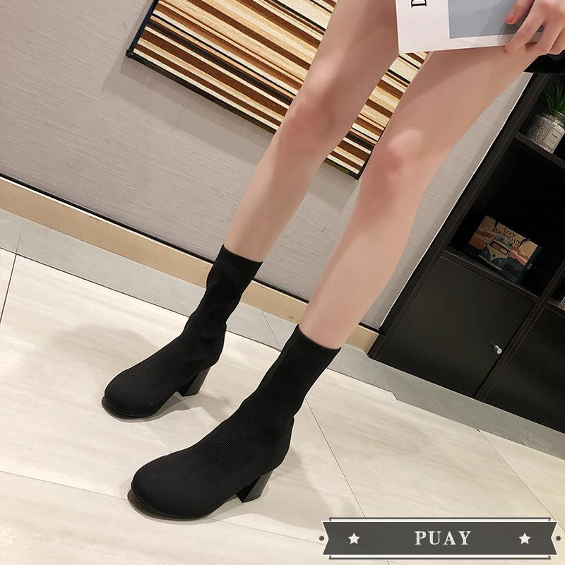 &Net red socks boots stretch boots female 2019 summer new Korean version of the wild thin boots square head thick with h