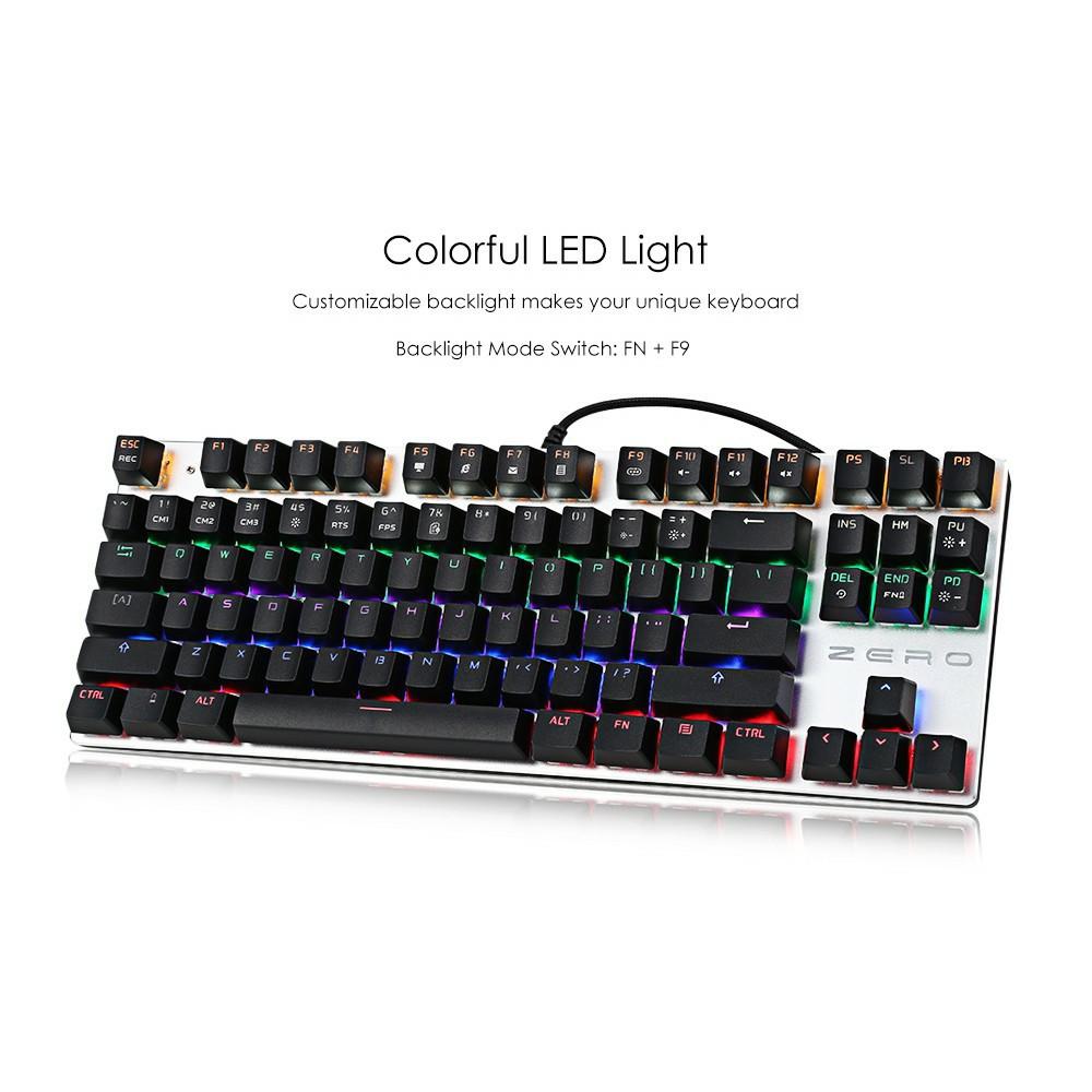 Bàn Phím Cơ Zero E-Sports Gaming Gear ⌨ Led Rainbow TKL 87 phím Blue SW ( ĐEN ) Giá chỉ 550.000₫