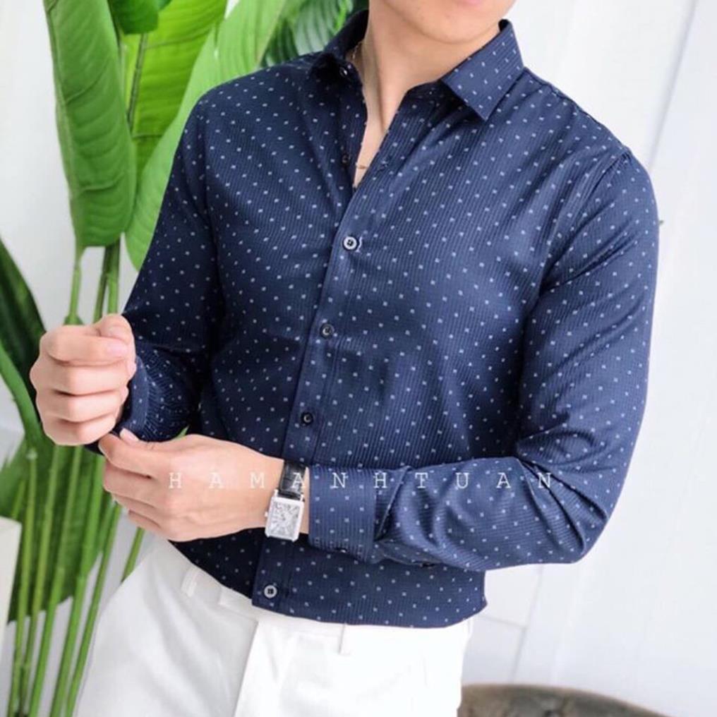 Sơ mi nam chấm bi họa tiết cao cấp Luis chất vải đẹp không nhăn không xù, co giãn nhẹ