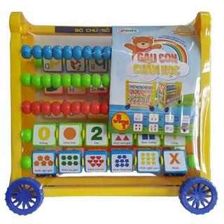 bộ học chữ và số đa năng có bàn tính,song ngữ có bánh xe cho bé