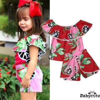 ✪B-BSummer Infant Kids Baby Girls Watermelon Floral Off Shoulder Set Outfits