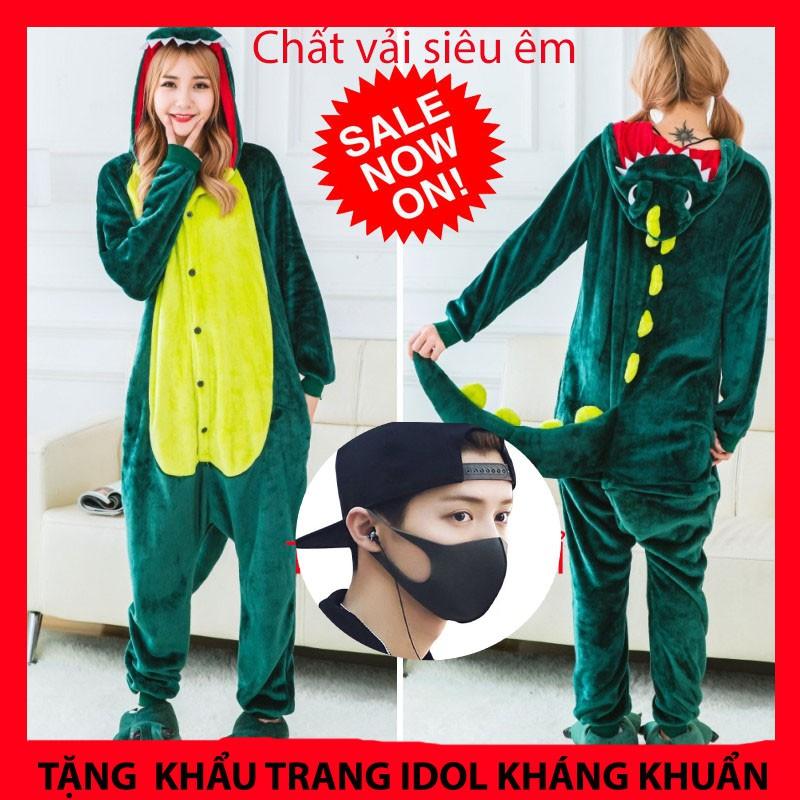 [RẺ VÔ ĐỊCH] Bộ Đồ Ngủ Thú Khủng Long Xanh Pijama Cá Sấu Cosplay