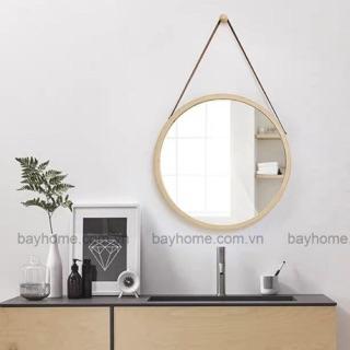 [BAYHOME] Gương tròn viền gỗ quai da