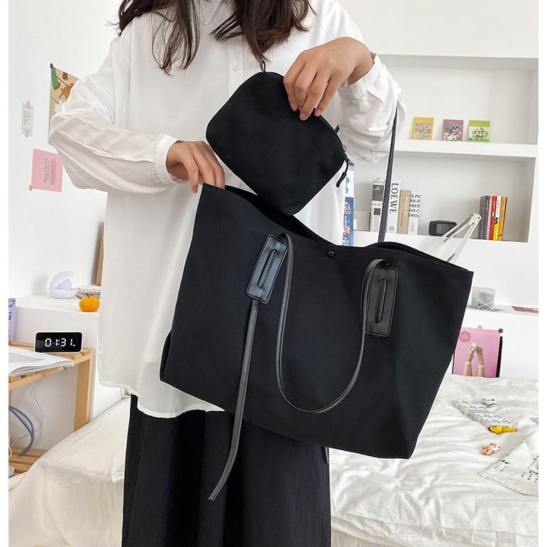 Túi vải canvas tote đeo vai phong cách Hàn Quốc đựng đồ cỡ lớn ( có kèm thêm túi nhỏ đựng đồ )