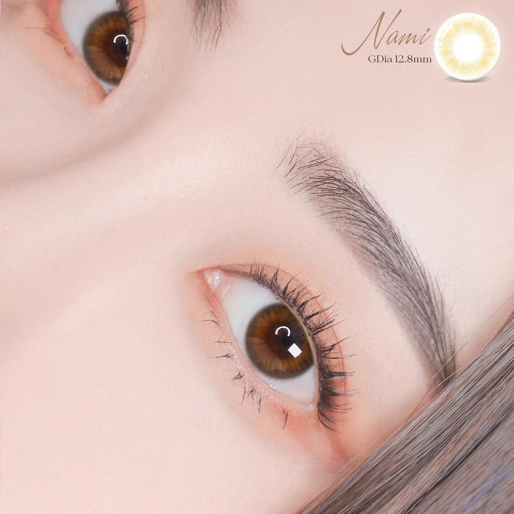Lens mắt nâu mật ong Nami hiệu Angel Eyes đường kính 12.8 có hỗ trợ cận 0-8