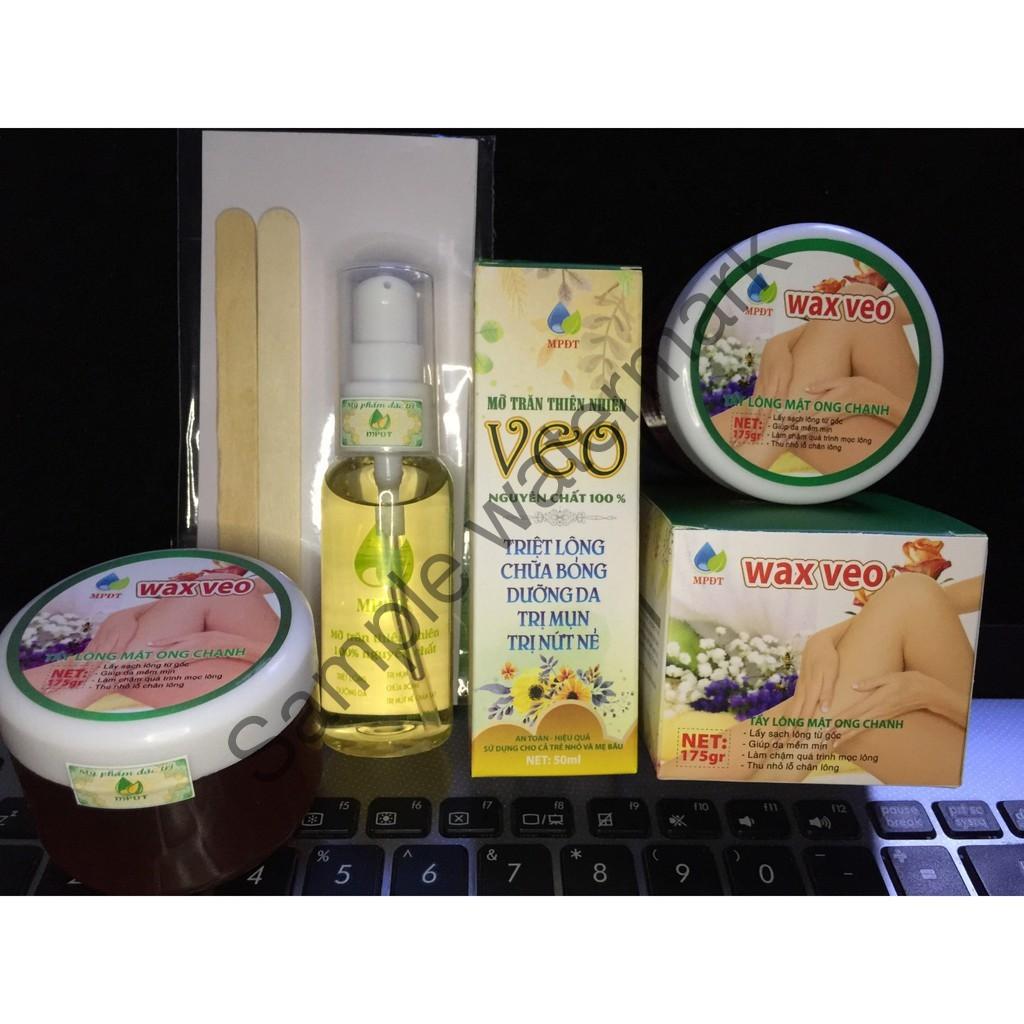 ( CHÍNH HÃNG )Combo Bộ TRIỆT LÔNG VĨNH VIỄN Gồm [1 Wax lông tẩy lông +1 Tinh chất mỡ trăn +tặng kèm giấy wax +que gạt].