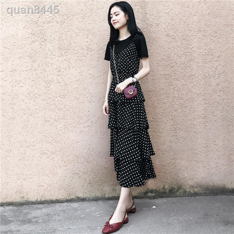 Set Áo Thun Tay Ngắn + Chân Váy Dài Họa Tiết Chấm Bi Xinh Xắn Cho Nữ