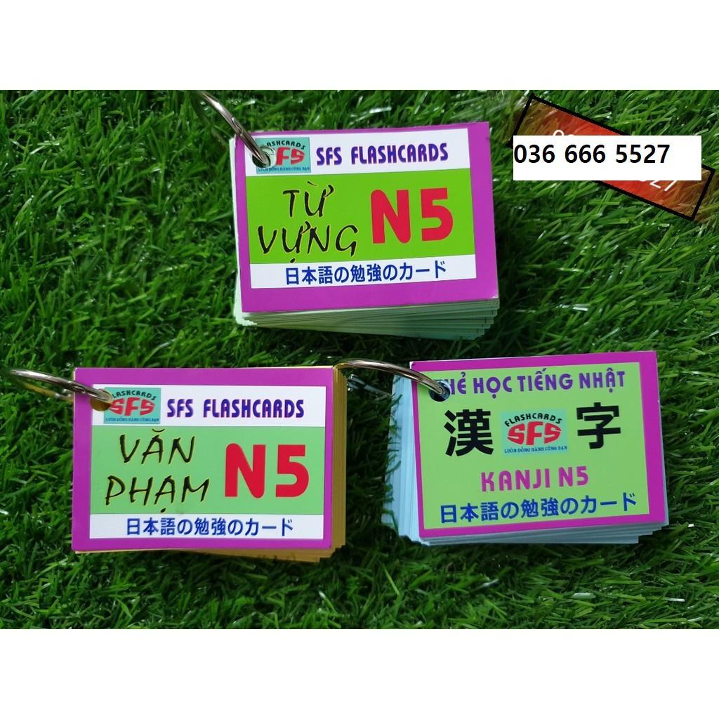 Flashcard Combo 3 tập Thẻ học Từ vựng Ngữ pháp Chữ Kanji tiếng Nhật - 29111815