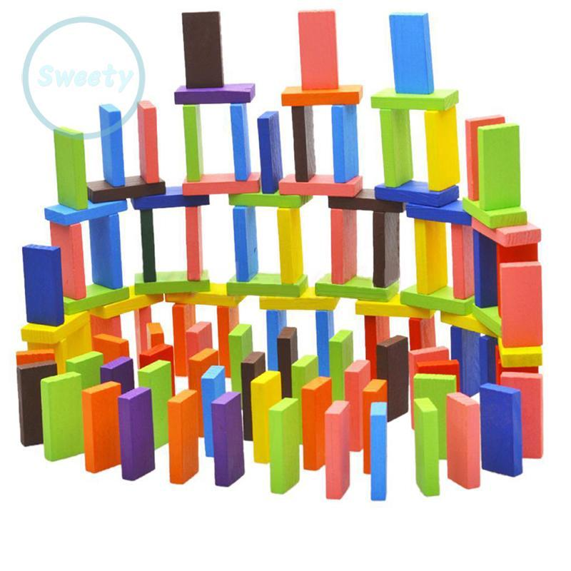 100 PCS color suit 10 wooden domino children's toys