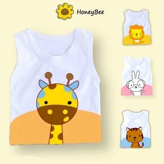 Quần áo trẻ em Honey Bee Áo ba lỗ hình thú ngộ nghĩnh thoáng mát thấm hút mồ hôi cho bé