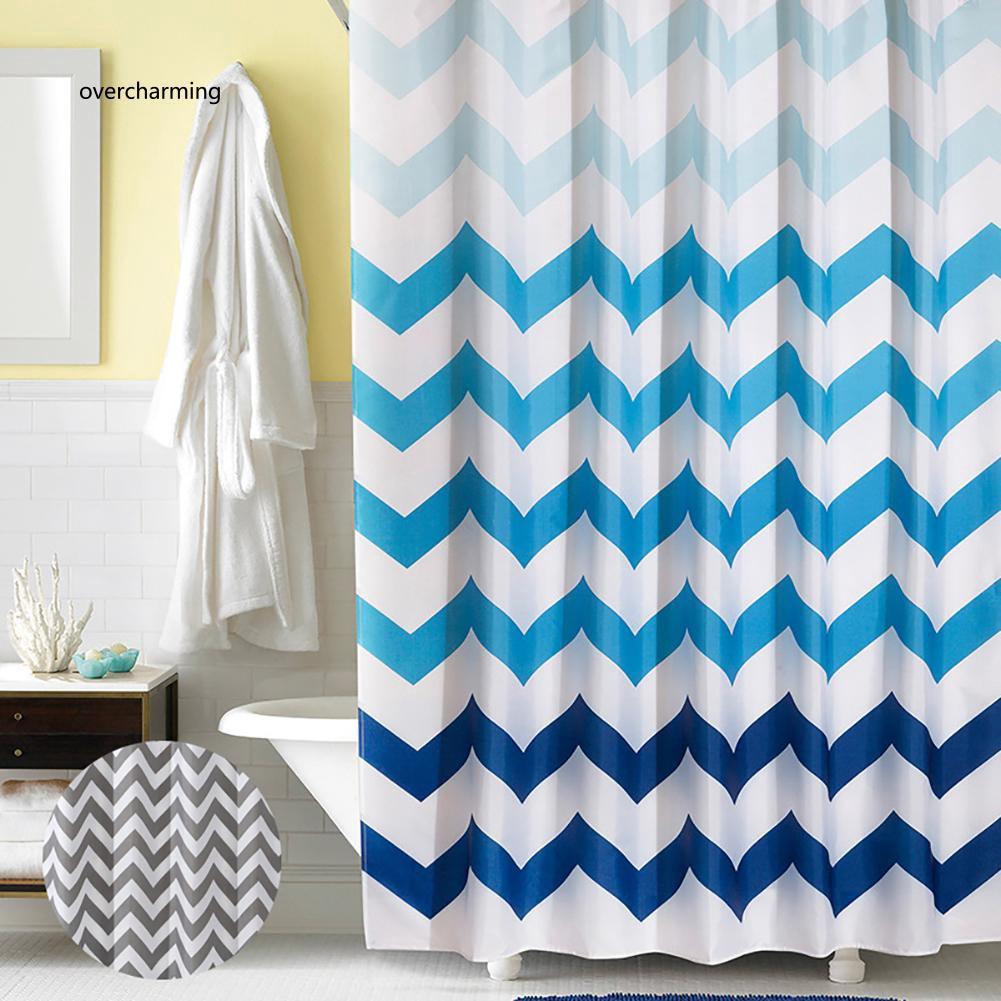 J_Wavy Pattern Thickened Bathroom Waterproof Bath Shower Curtain with 12