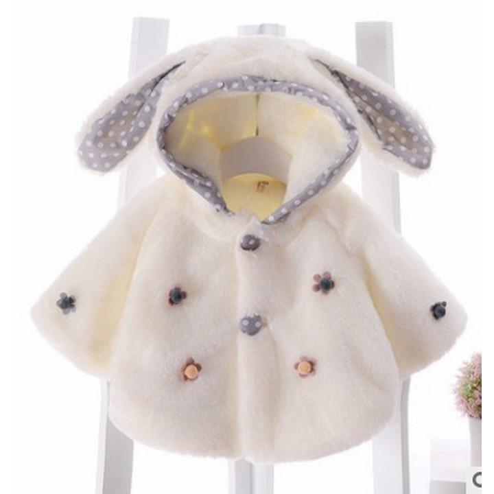 Áo khoác lông tai thỏ dài cho bé gái
