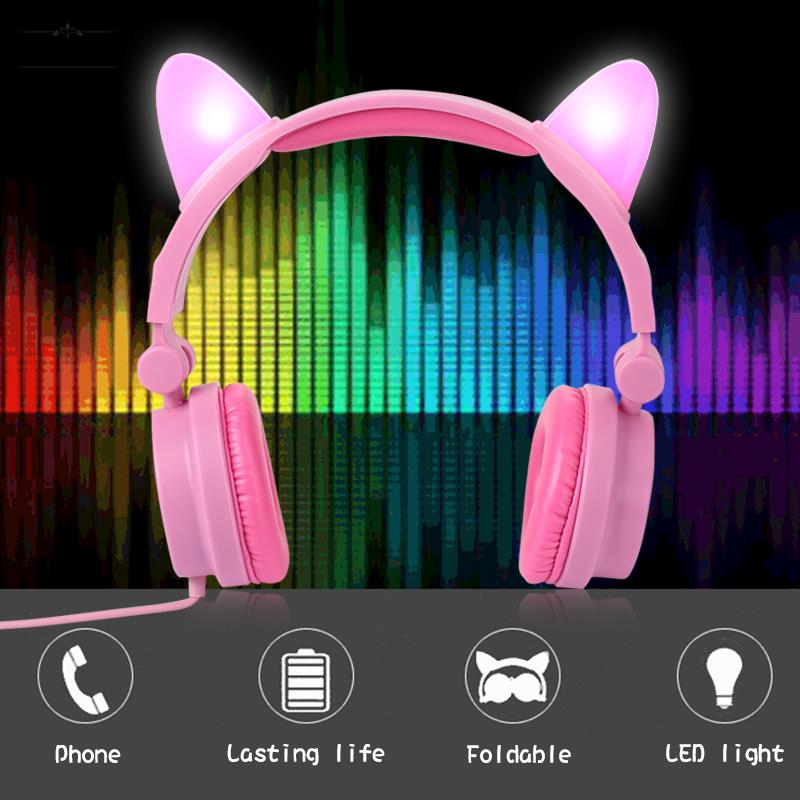 ❀ Gleamy Rechargeable Cat Ears 3.5mm Computer LED Light Changing Headphone Giá chỉ 191.339₫