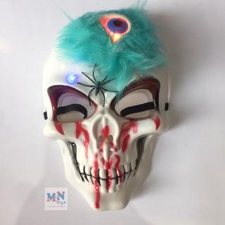 Mặt nạ xương 3 mắt độc lạ có đèn sáng hóa trang Halloween