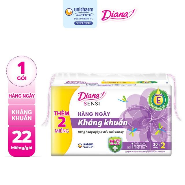 Bộ 6 gói Băng vệ sinh Diana hàng ngày Sensi kháng khuẩn gói 20 miếng