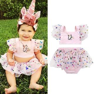 Set áo hồng thêu hình ngựa 1 sừng và váy lưới chấm bi cho bé gái