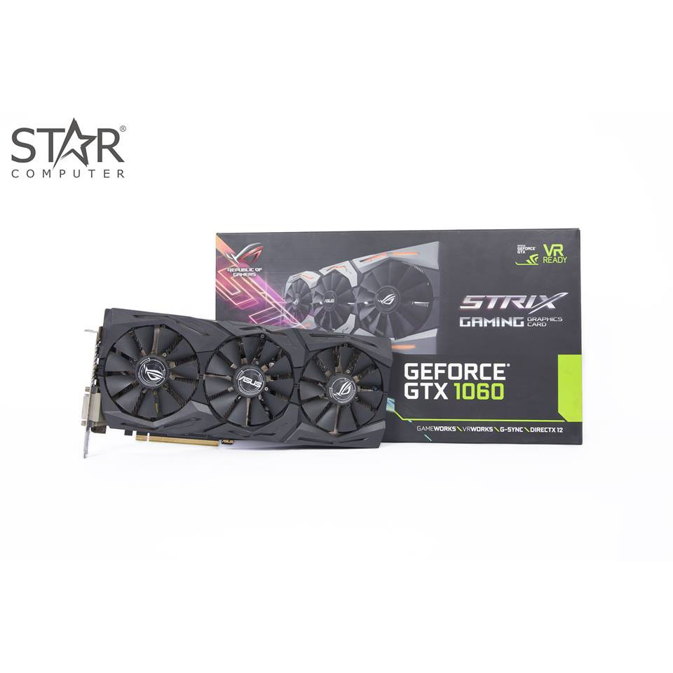 VGA Asus R.O.G STRIX GTX 1060 A6G 6GB GDDR5 (ROG-STRIX-GTX1060-A6G-GAMING)