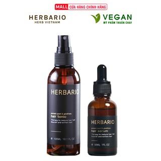 Combo nước dưỡng tóc vỏ bưởi & Bồ kết herbario 100ml + Serum mọc tóc vỏ bưởi & Bồ kết herbario 30ml thumbnail