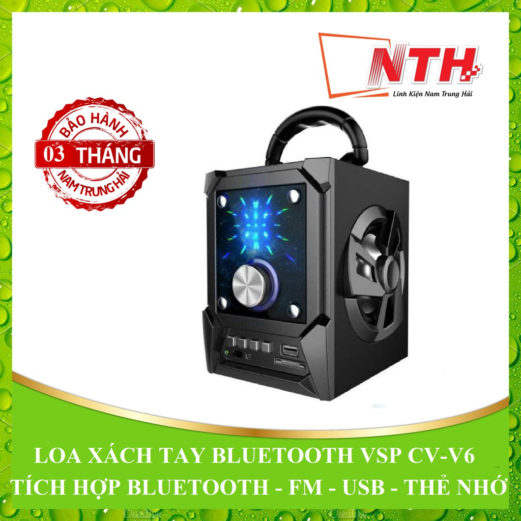 [NTH] LOA XÁCH TAY VSP CV-V6 LED BLUETOOTH, FM, THẺ NHỚ, USB