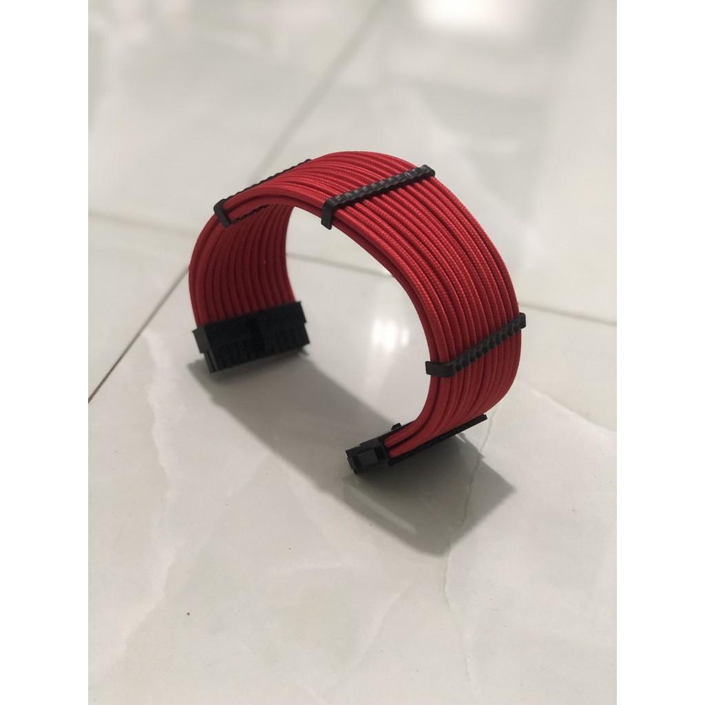 Dây nguồn bọc lưới nối dài 24Pin- 8Pin-6Pin 4Pin lõi 18AWG (mix màu theo yêu cầu) - Full Đỏ