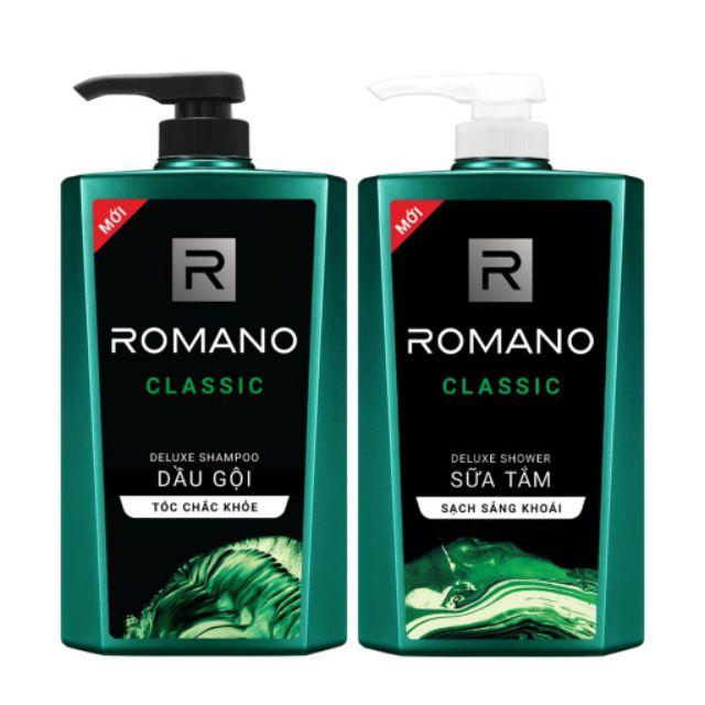 Combo dầu gội và Sữa tắm Romano classic 650g