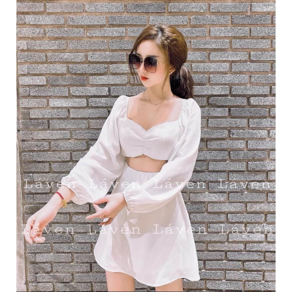 Video váy đầm nữ tay phồng có kèm mút ngực chất voan cao cấp (có lót) kiếu dáng trẻ trung thích hợp mặc đi chơi