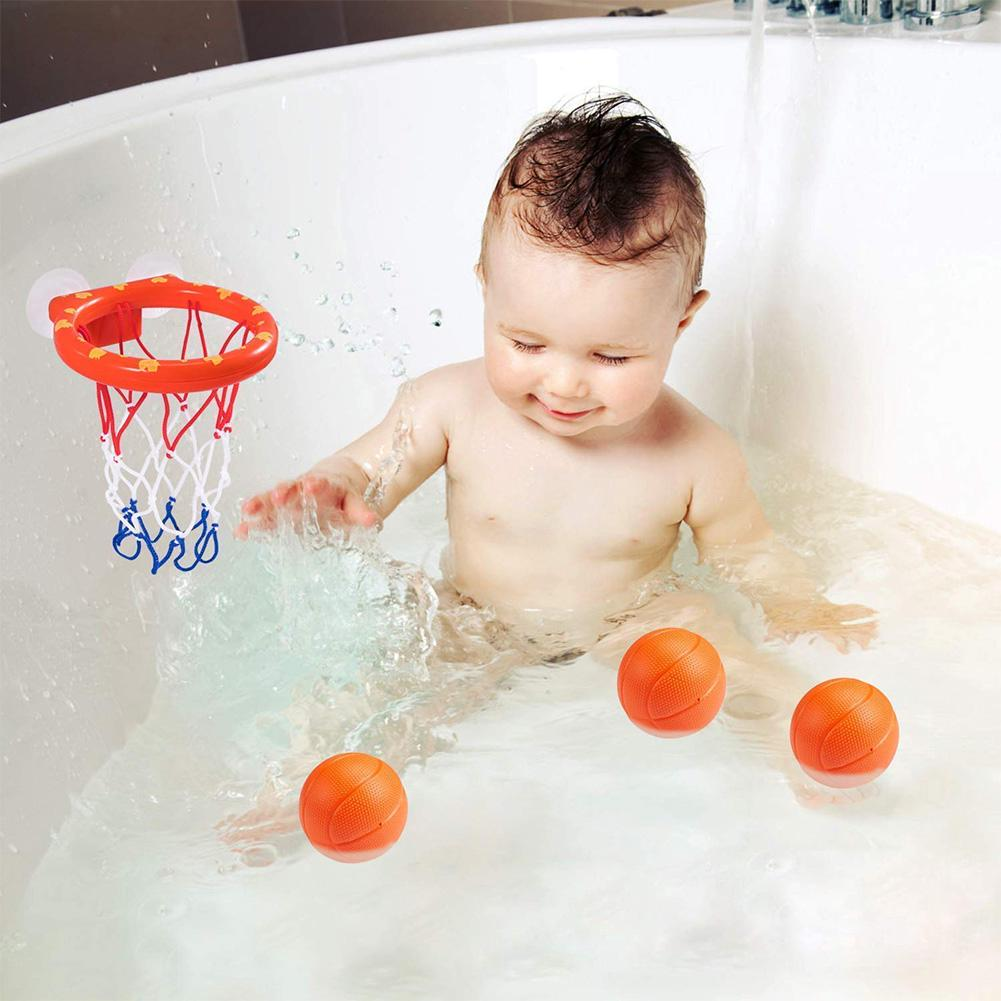 Funny Bathtub Mini Suctions Cups Basketball Plastic Kids Children Game Toy Set With Hoop Balls Bath Toys