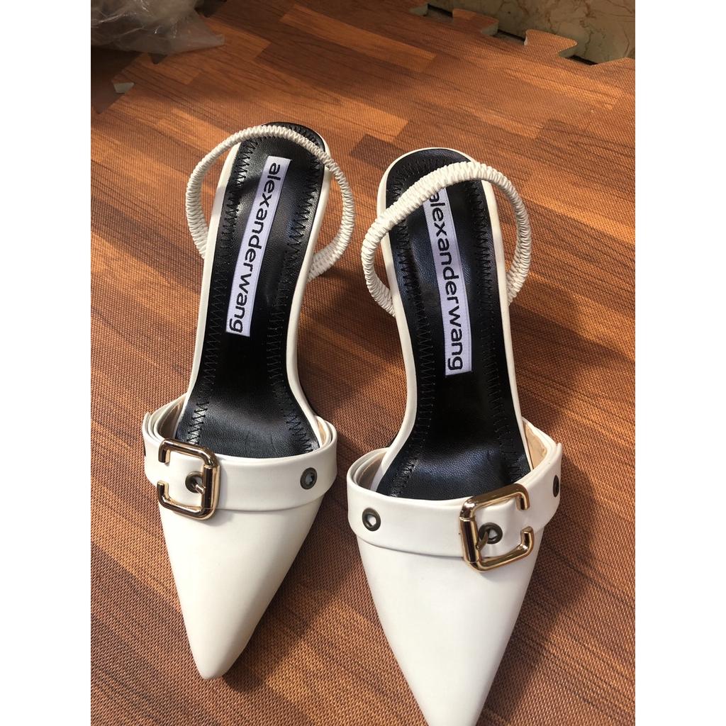 Giày sandal cao gót nữ bít mũi khóa da lỳ cao cấp gót cao 5p sang chảnh ms Q134