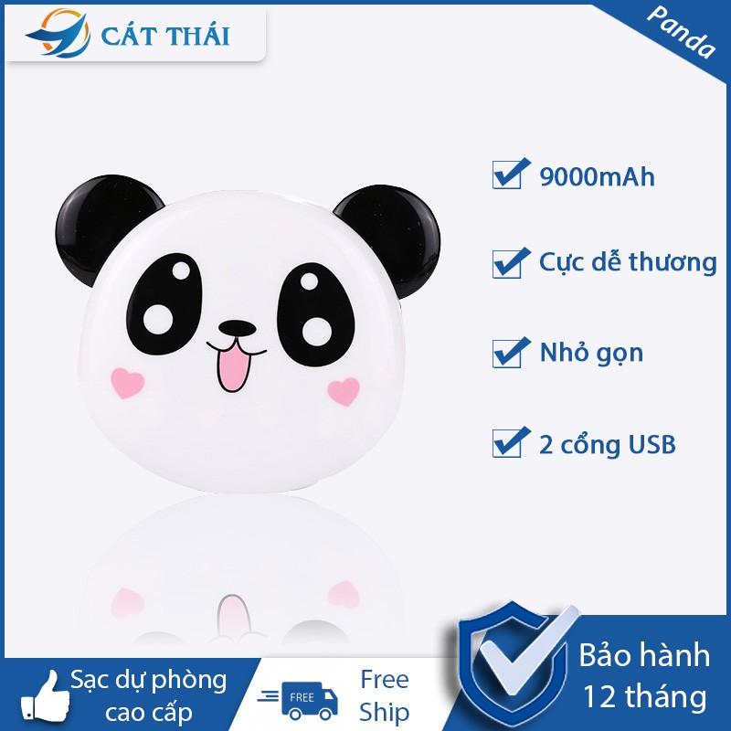 Pin Sạc Dự Phòng Panda, 2 đầu ra USB, 9000mAh, cảm giác mờ, phong cách cổ điển dễ thương