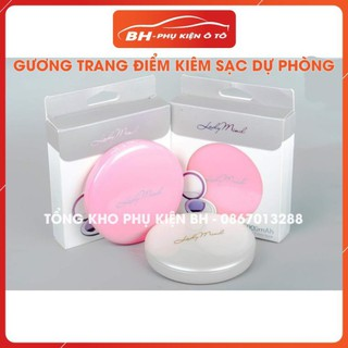 Gương Trang Điểm Mini Kiêm Sạc Pin Dự Phòng LadyMind 5000mAh, Gương Mini Cầm Tay