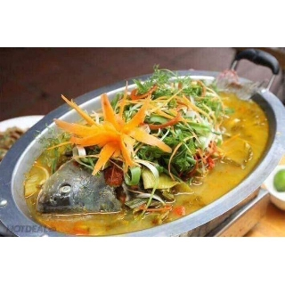 KHAY OM CÁ INOX- khay lẩu cá inox cao cấp(kèm theo vỉ)