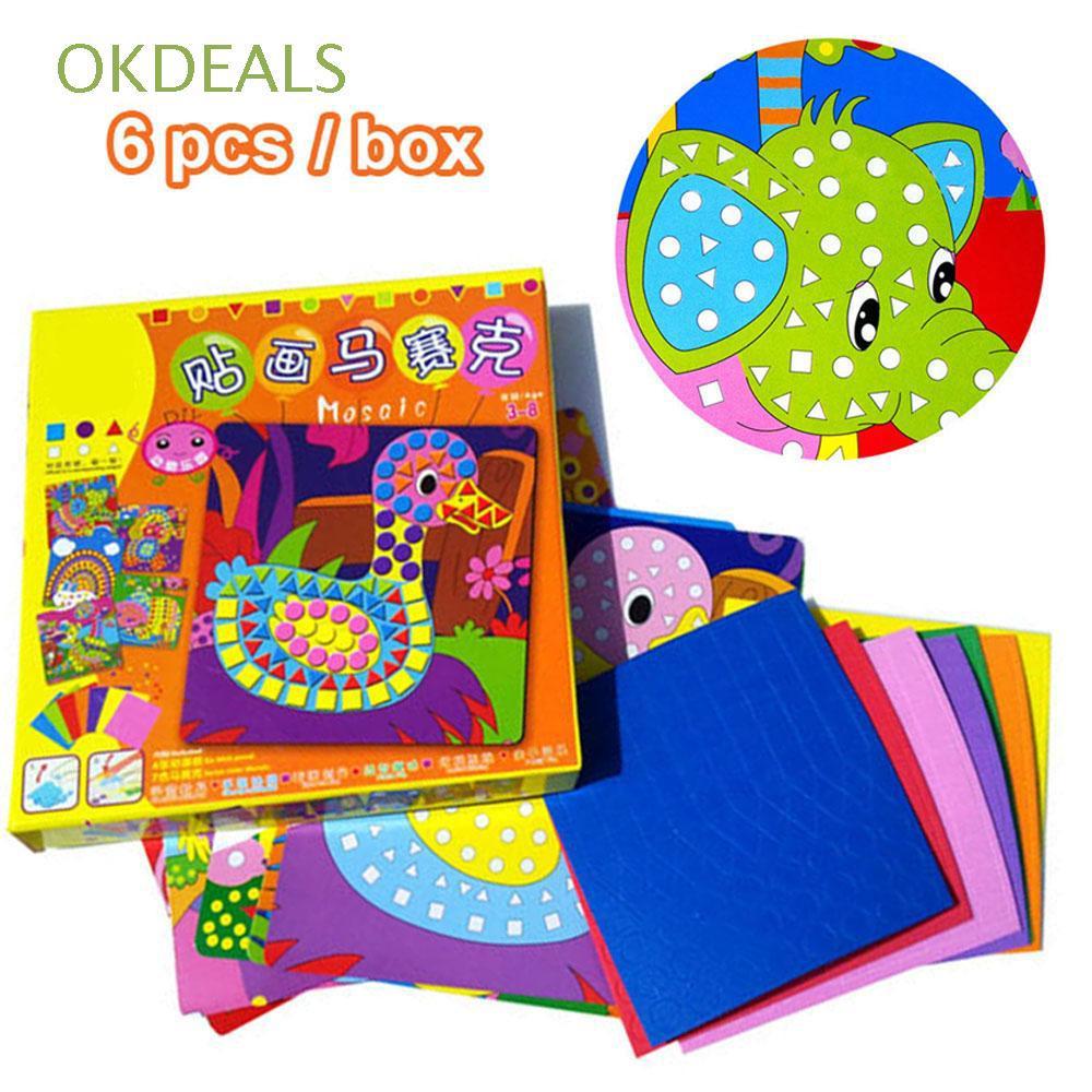 6pcs/box Kids Game Imagination DIY Kits Arts Craft Early Educational 3D Mosaics Puzzle