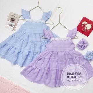 Váy bé gái , đầm 2 dây cánh tiên phối ren cho bé chất đũi nhăn  tặng kèm dây buộc tóc