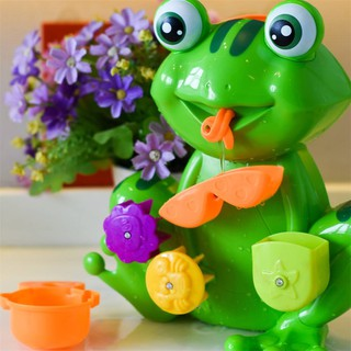 Bath Tub Toy Kid Toddler Green Frog 4 Stacking Cups Water Spray