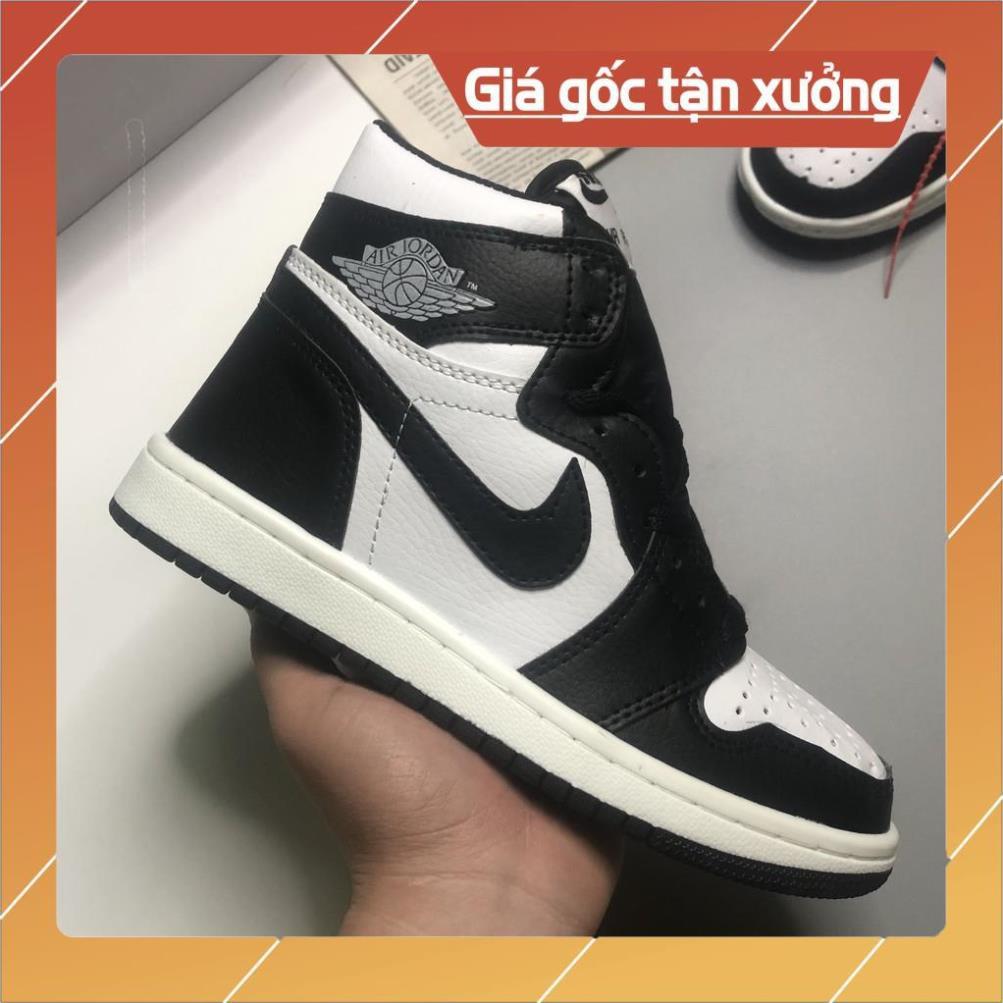 Giày Jordan 1, Giày JD1 Bản Panda Cao Cổ Màu Đen Da Bò Cao Cấp, Đế Khâu Full Size Nam Nữ | JDD002