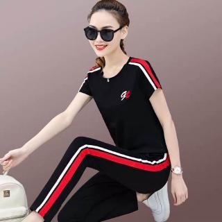 Bộ đồ thể thao 2 món áo tay ngắn quần dài phong cách Hàn Quốc 2020 cho nữ