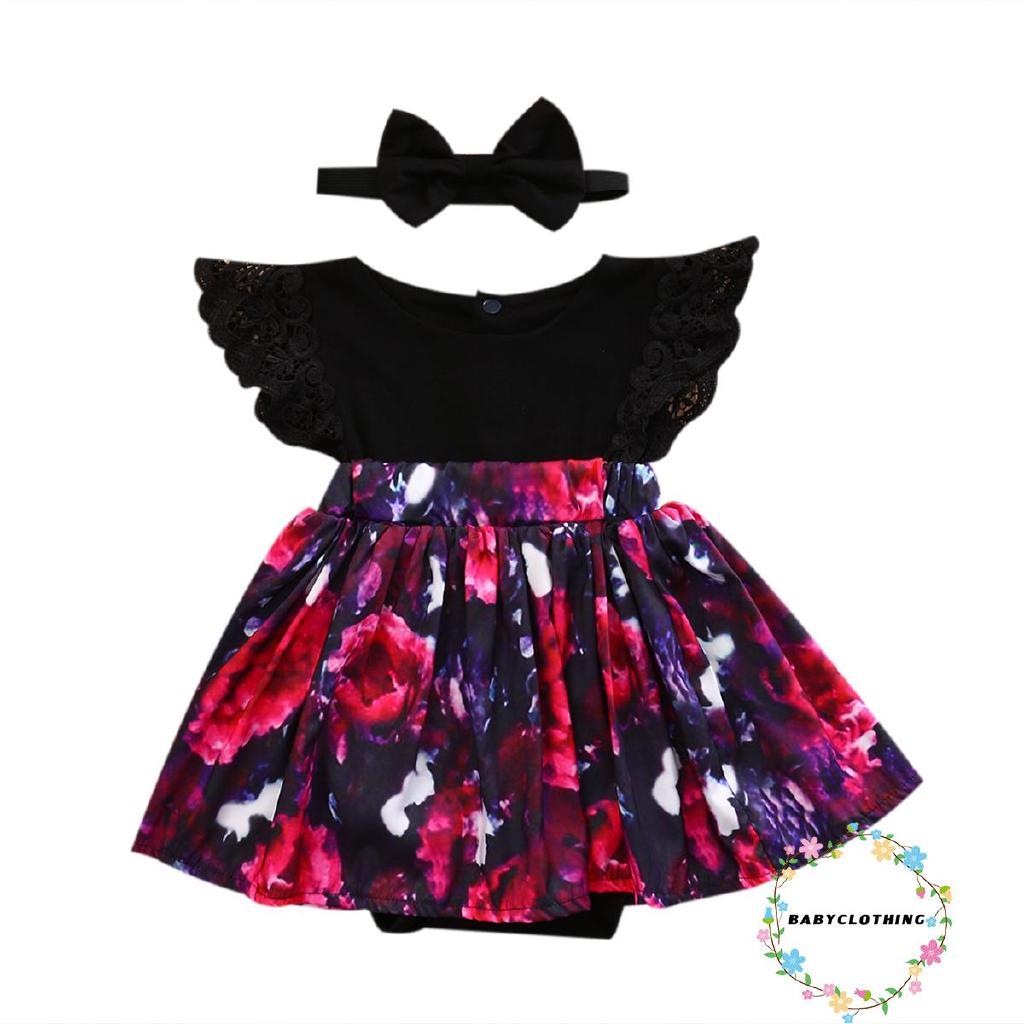 Bộ áo liền quần in hoa xinh xắn cho bé gái