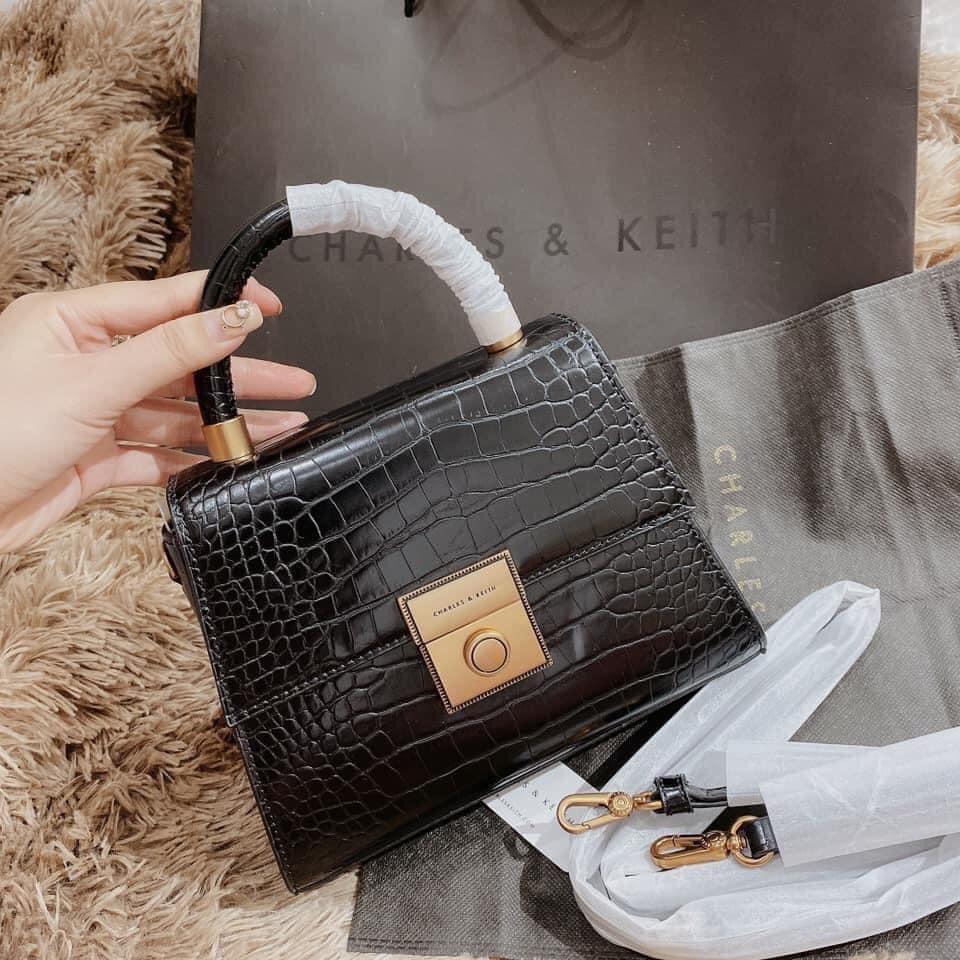 Túi xách da rắn khóa vuông quai tròn đeo chéo cho nữ HADAS mẫu mới nhất 2020 QTRON