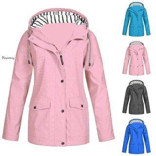 Coat Windproof Button Winter Autumn Womens Ladies Coat Parka Hooded Outdoor Windbreaker Pockets Zipper Fashion