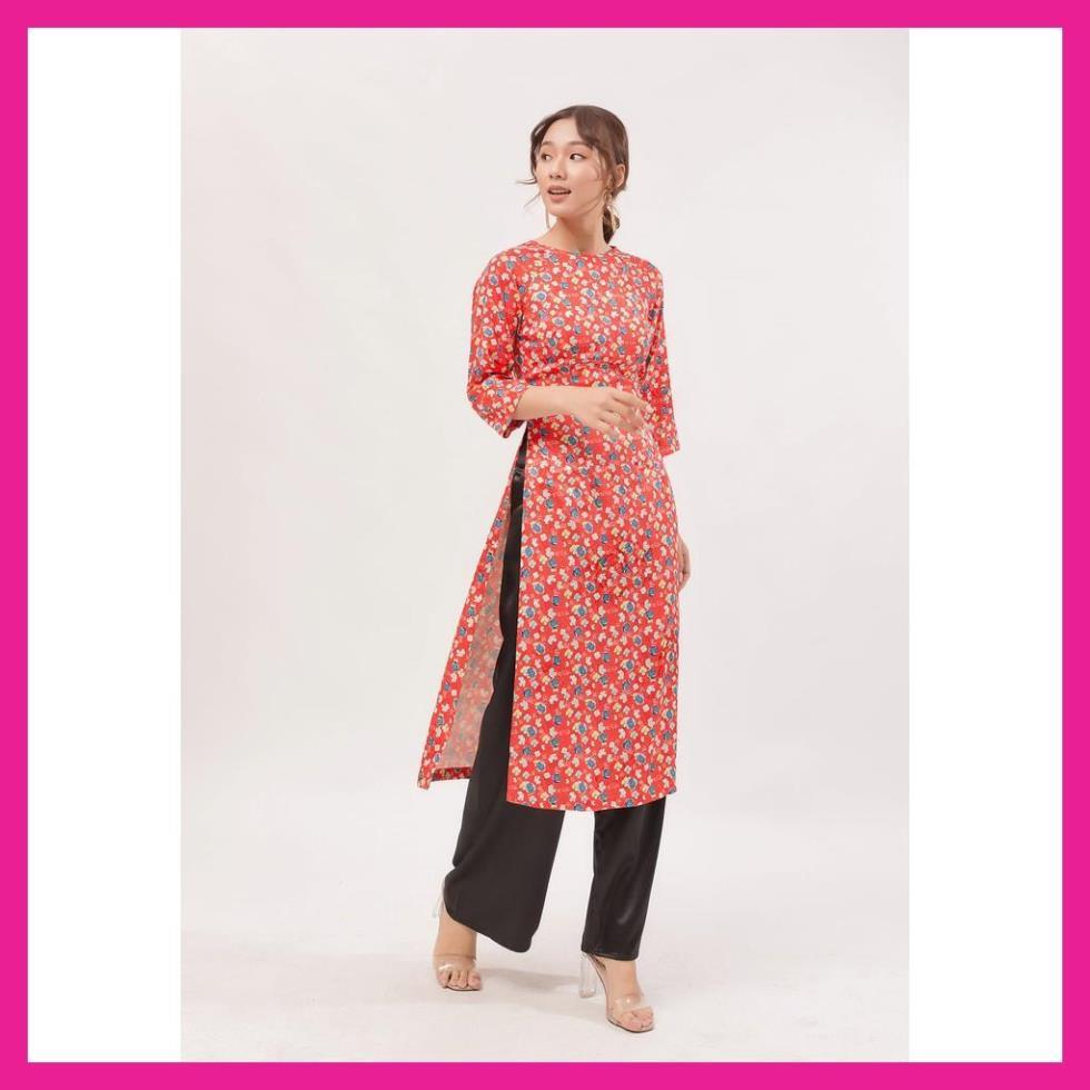 Áo Dài Nữ, Áo Dài Gấm Màu Đỏ Cổ Kiềng Tay Lững Họa Tiết Hoa Nhí Trẻ Trung Tinh Tế.