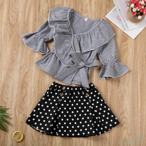 4606991625 - Bộ áo thun tay dài ống loe phối bèo kẻ sọc và chân váy tutu chấm bi dành cho bé gái mặc trong các bữa tiệc