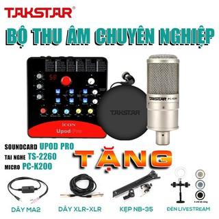 [ CHÍNH HÃNG] Combo thu âm, livestream chuyên nghiệp: Mic PC K200, Soundcard Icon Upod Pro, Tai nghe TS2260 và phụ kiện.
