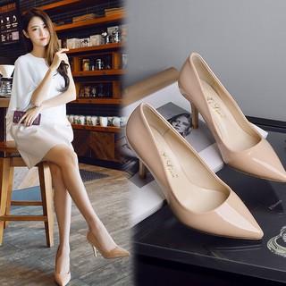 giày cao gót nhọn da bóng 7cm - GCG18, GIÀY CAO GÓT NỮ