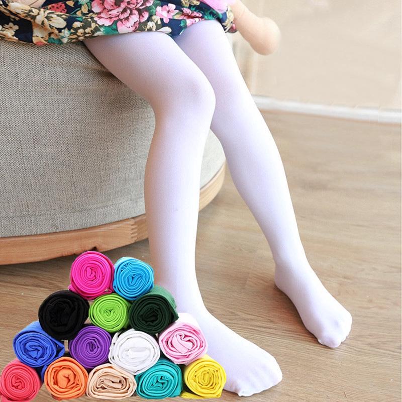 Tất chân dài màu trơn chất lượng cao cho bé gái