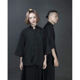 Áo Shanghai cổ tàu nam nữ tay lỡ Form Unisex - Áo phong cách Trung Hoa cổ trang cổ điển thumbnail