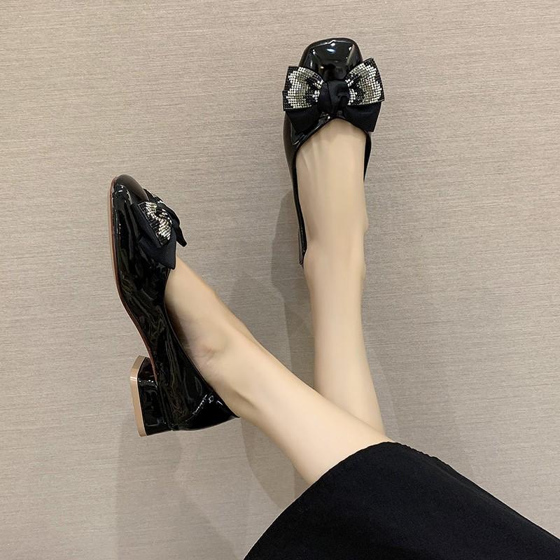 Giày Búp Bê Bệt Có Nơ Bằng Da Gót Thấp Thời Trang Cho Nữ