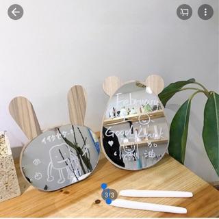 [TẶNG BÚT TRẮNG Gương soi để bàn gương để bàn gỗ họa tiết chuột thỏ xinh và chắc chắn