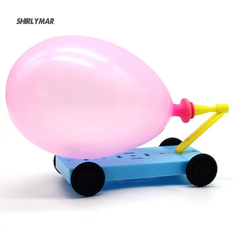 ஐSr DIY Balloon Powered Car Recoil Force Physics Experiment Educational Kids Toy